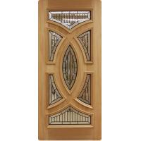 Quality Decorative leaded glass with d patina came in wooden door for sale