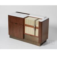 Quality Walnut Veneer Functional Console Hotel Room Dresser With Brushed Brass Metal Base for sale