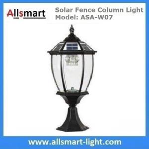Quality Aluminum Solar Fence Column Light Exterior Solar Pillar Lamp Vintage Outdoor Post Lights Fence Gate Stone Lantern Black for sale