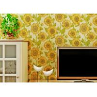 China Sunflower Pattern Living Room Modern Wallpaper With Embossed Surface , Golden Color on sale