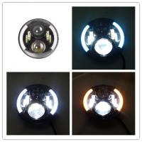 Quality 7 Inch Round Jeep Wrangler Headlights With Half Halo Ring Angel Eye for sale