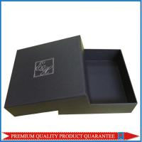 Quality Silver Hot Stamp Logo Print Matte Black Paper Gift Packaging Box Lid & Base for sale