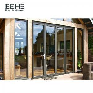 Quality Luxury Aluminium Folding Sliding Doors , Big Grey Aluminium Bifold Doors for sale