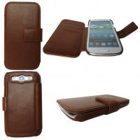 Quality Environment-friendl brown leather protective cases for cell phones Samsung Galaxy S3 I9300 for sale