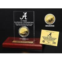 Quality Crimson Tide 13 Time Champions Engraved Acrylic with 24KT Gold Champions Coin for sale