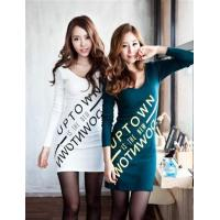 Quality 1190 pairs of letters printed V Slim Dress - White for sale