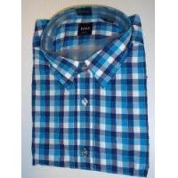 Quality Hugo Boss Mens Ronny Ls Dress Shirt Large Slim Fit Woven Blue Checked from Hugo Boss for sale