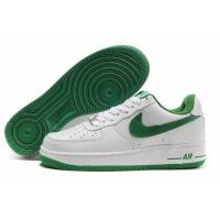 China Nike Air Force One Mens Low Shoes in White with Green Logo on sale