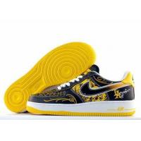 Nike Air Force One Mens Low Cut Shoes in Black Yellow spiderweb for sale