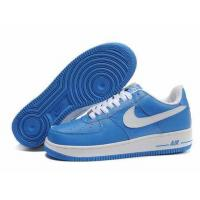 Nike Air Force One Mens Low Cut Shoes In Blue with White Logo for sale
