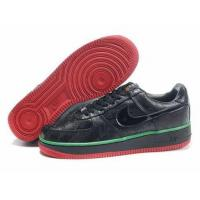 Nike Air Force One Mens Low Cut Shoes In Black with Green Lace for sale
