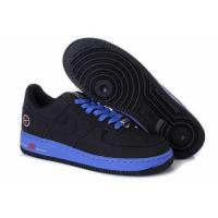 Nike Air Force One Mens Low Cut Shoes In Black and Blue for sale