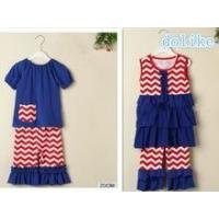 China Best sell 4th of july outfits baby girls ruffle outfits name brand kids clothing wholesale on sale