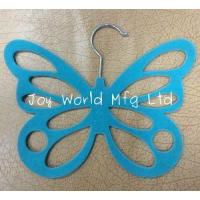 China flocked butterfly scarf hanger, 29.5cm x 23cm x 0.55cm(thickness),green,purple, ABSplastic on sale