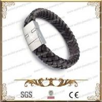 Quality Brown Leather And 316L Stainless Steel Magnetic Bracelet,Good For Health for sale