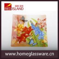 Quality hot sale square shape glass tray glass dishes dinner set for sale