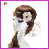 China Fancy Lady Daisy Flower Elastic Headband, Floral Hair Band, Boho head pieces on sale