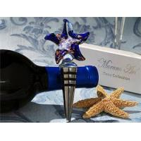 China Dark Blue and Silver Swirl Glass Starfish Wine Bottle Stopper on sale