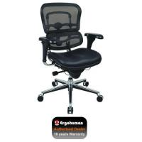 Quality Office Chairs Ergohuman Chair Leather Seat, Black Mesh Back for sale
