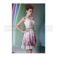 Quality A line one shoulder printed tencel cocktail dress for sale