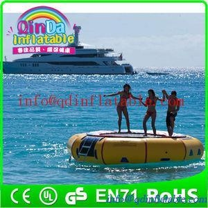 Buy Amusement inflatable water play equipment floating trampoline orbit water trampoline at wholesale prices