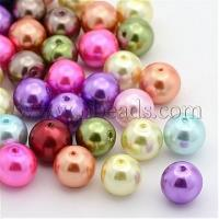 China Mixed Pearlized Glass Pearl Round Beads Strands, Dyed, Size:...(X-HYC002) on sale