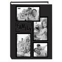 "Quality Pioneer Collage Frame Embossed Family"" Sewn Leatherette Cover 300 Pocket Photo Album, Black for sale"