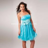 China Column Spaghetti Straps Mini Organza Ruffled Bow Cocktail Dress on sale