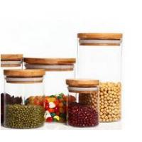 different size clear round glass Jar with bamboo lid