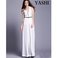 European High Quality V-Neck Sexy Wide Leg Jumpsuit