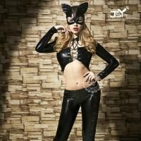 Quality Role's Playing Black Long Sleeved Wet Look Cat Suit for sale
