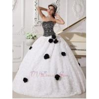 Buy cheap Black Sequin Bodice Rolled Fabric Flowers Quincenera Party Dress Girl from wholesalers