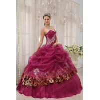 Buy cheap Best 2014 Appliqued Ruby Red Quinceanera Dress With Leopard Fabric from wholesalers