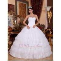 Buy cheap White Sweetheart Layers Skirt Sequined Sweet 16 Dress For Girl Cheap from wholesalers