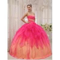 Buy cheap Beautiful Strapless Hot Pink Cascade Putty Skirt 2014 Quinceanera Dress from wholesalers