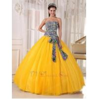 Buy cheap 2014 Dark Yellow Quinceanera Dress With Printed Fabric Bodice Design from wholesalers
