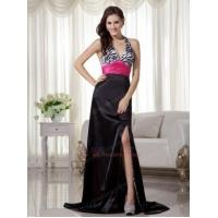 Buy cheap Black and White Printed Zebra Prom Dress With Fuchsia Sash from wholesalers