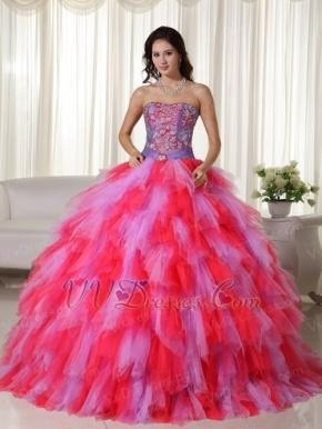 Buy Multi-color Lilac And Hot Pink Quinceanera Puffy Big Skirt Luxury at wholesale prices