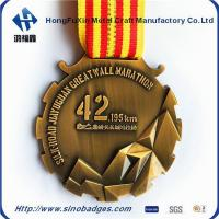 Quality Beautiful Brass, 3D Mountains 42KM Marathon Medal for sale