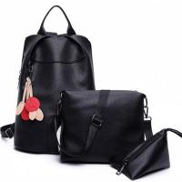 Quality E2040 Wholesale student leather bags girl leisure backpack set for sale