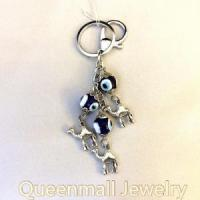 China inter car decoration accessory glass lukcy eye metal key rings on sale