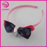 Quality 10mm Wide Plastic Hair Band with Ribbon Bow for Children for sale