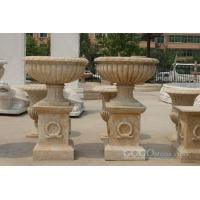 China Flowerpot cream limestone flower planter for sale