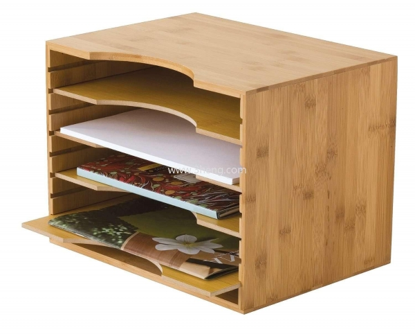 Buy Bamboo File Organizer with 4 Dividers at wholesale prices
