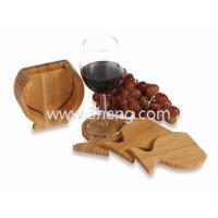 Quality Bamboo Coasters Wine Glass Shaped Neutral Toned With Set of 4 for sale