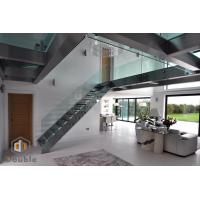 Quality L Shape Modern Staircase with Glass Railing and Glass Step for sale