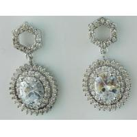Quality Vintage Bridal Glam CZ Wedding Or Pageant Chandelier Dangle Earrings With Oval-Cut Gems for sale