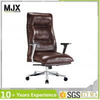 Quality Office Chair Genuine Leather Adjustable Executive Chair with Aluminium Arm for sale