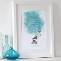 Quality Personalised Song Lyrics Print for sale