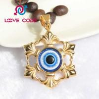 Quality 14k gold palted large blue evil eye pendant for necklaces for sale